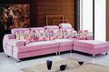 Cor de rosa estofos L forma sofá com soft almofada / sofá de madeira com tecido de alta qualidade SO-2013-32