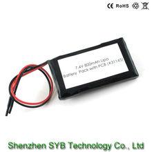 SYB 7.4V 800mAh LIPO Rechargeable Battery Pack w/ PCB