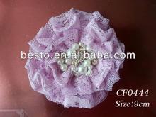CF0444 Top baby girls hot pearl rhinestone center bulk mesh hair flower