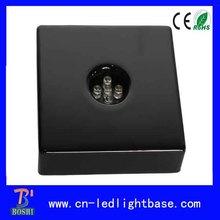 square wooden led light base base for 3d crystal