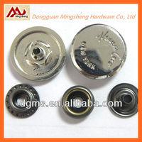 custom engraved logo decorative clothing metal snaps