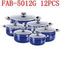 12 piezas azul caliente de la venta de aluminio antiadherente grandes ollas de cocina para la venta