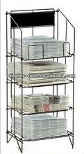 wheels blue newspaper rack HSX-S827 magazine newspaper display stand/display racks