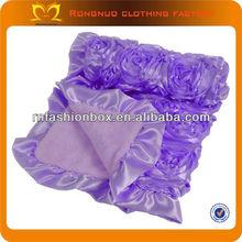 2014New Baby Blanket Purple Handmade Baby Blanket Patterns With Rosette Flower Knitting Patterns Baby Fleece Blanket