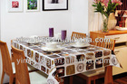 Coffee waterproof PVC table cloth / plastic tablecloth / plastic table cover