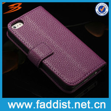 Grape purple PU case for iphone5 5s with multifunction