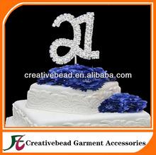 2 Rows Rhinestone Diamante Number Cake Toppers Wedding Decoration