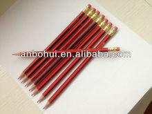 Top quality linden wood stirpping hb pencil with eraser ;confirmed (EN71&ASTM )test