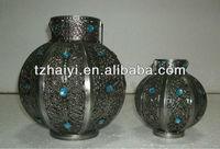Metal jeweled Chinese lantern candle holder