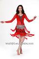 Trajes de dança, cigano vermelho sexy dança do ventre desgaste de desempenho, dança do ventre roupa de desempenho( qc2086)