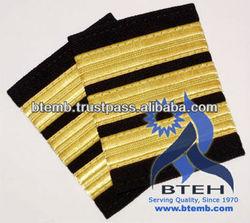Pilot Epaulettes   Airline Epaulettes   Pilot Uniform Epaulettes with Gold Wire French Braid