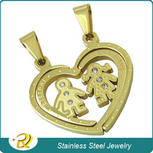 Stainless Steel Jewelry Set Boy and Girl Fall in Love Couple Pendant RXP-002