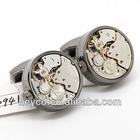HEYCO gunmetal watch clock movement mechanism OEM the cuff links cufflinks watch