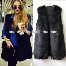 Chic 2014 wholesale faux fur vest for ladies Winter Coat Outwear Long Jacket Waistcoat