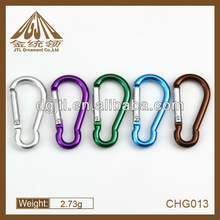 Hot selling high quality colorful aluminum types of carabiners hook