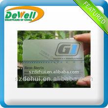 Brillante acabado de PVC tarjetas de visita barato transparente con Logo