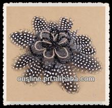 mink flowers leopard feather beads flower