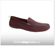 Men Genuine Leather Moccasin Loafer Shoe Brown