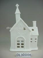 Porcelain Church House Candle Holder