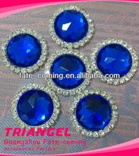 Small Round Blue Rhinestone Acrylic Brooch