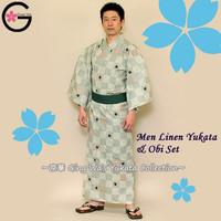 Japan Cosplay Costumes Caftan Wholesale Spa Uniforms Splashed Plover Green Men Women Kids Children Linen Summer Kimono Yukata