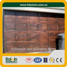 Imitation wood shutter garage door