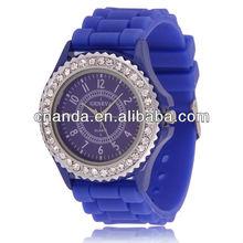 Classic Crystal Geneva Quartz Fashion Colorful Jelly Watch Silicon 2012