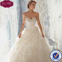 Goingwedding Beaded Sweetheart Neckline Pleated Bodice Ruffled Organza Big Skirt Puffy Ball Gown Wedding Dresses MR051