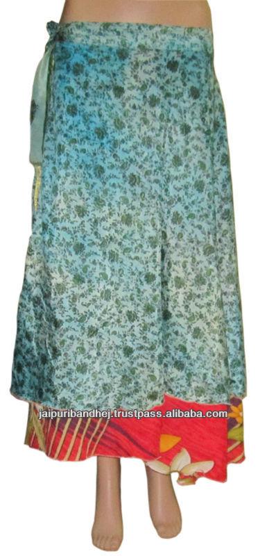 Two Layer Silk Wraparound Long Vintage Wrap Skirts