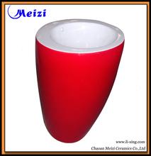 One piece Ceramic bathroom automatic wash basin