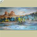 Peinture à l'huile paysage naturel et rivière, montagne, peinture