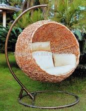 rattan iron frame indoor/ outdoor hanging swing egg basket