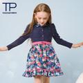 Son tasarım sonbahar ve kış elbise çiçek baskı, yüksek bel tam kollu prenses elbise( tgd1308103)