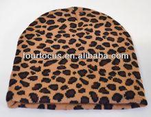 New leopard animal print knit beanie winter ski hat skull cap