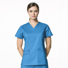 Blue Medical Nurses Scrub Suit Uniform Ladies V-neck Top Clothing