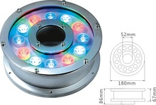 Low working voltage boat/pool/aquarium white/rgb/blue factory price popular CE 12*3W led underwater light led fountain light