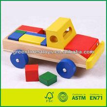 Kids Wooden Building Block Truck Toy