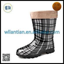 Mulheres quente barato PVC transparente botas de chuva