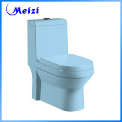 One piece bathroom blue color toilet bowl