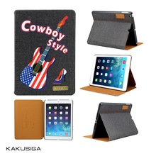 2015 magnetic jeans smart cover leather case for ipad air