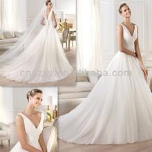 V-Neck Sleeveless Bridal Dress Low Cut Back -- XJ199