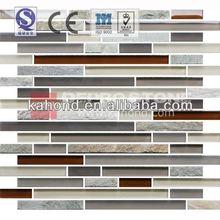 Wall strip stone mix brown grey kitchen backsplash glass mosaic tile