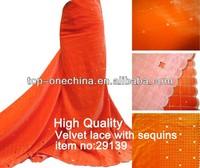 plain orange latest velvet dresses for women african velvet lace fabric