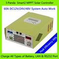 Monitoramento remoto de mppt solar chager controlador, shenzhen ipanda 12v 24v 48v auto trabalho 60a smart bateria controlador de carga