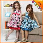 Princess girl's dresses in stock summer designs party dress sleeveless little girls frocks dress