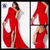 P0279 2014 one long sleeve prom dress velvet split leg prom dress