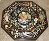 Marble Stone Inlaid Octagonal Shape Coffee Table Top Agra Inlay