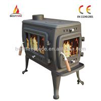 Matt black steel log burning burner