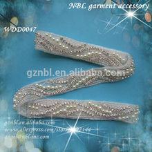 rhinestone applique trim for wedding dress WDD0047