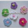 Toptan dekoratif tığ işi çiçek aplike/ucuz el yapımı tığ işi çiçek